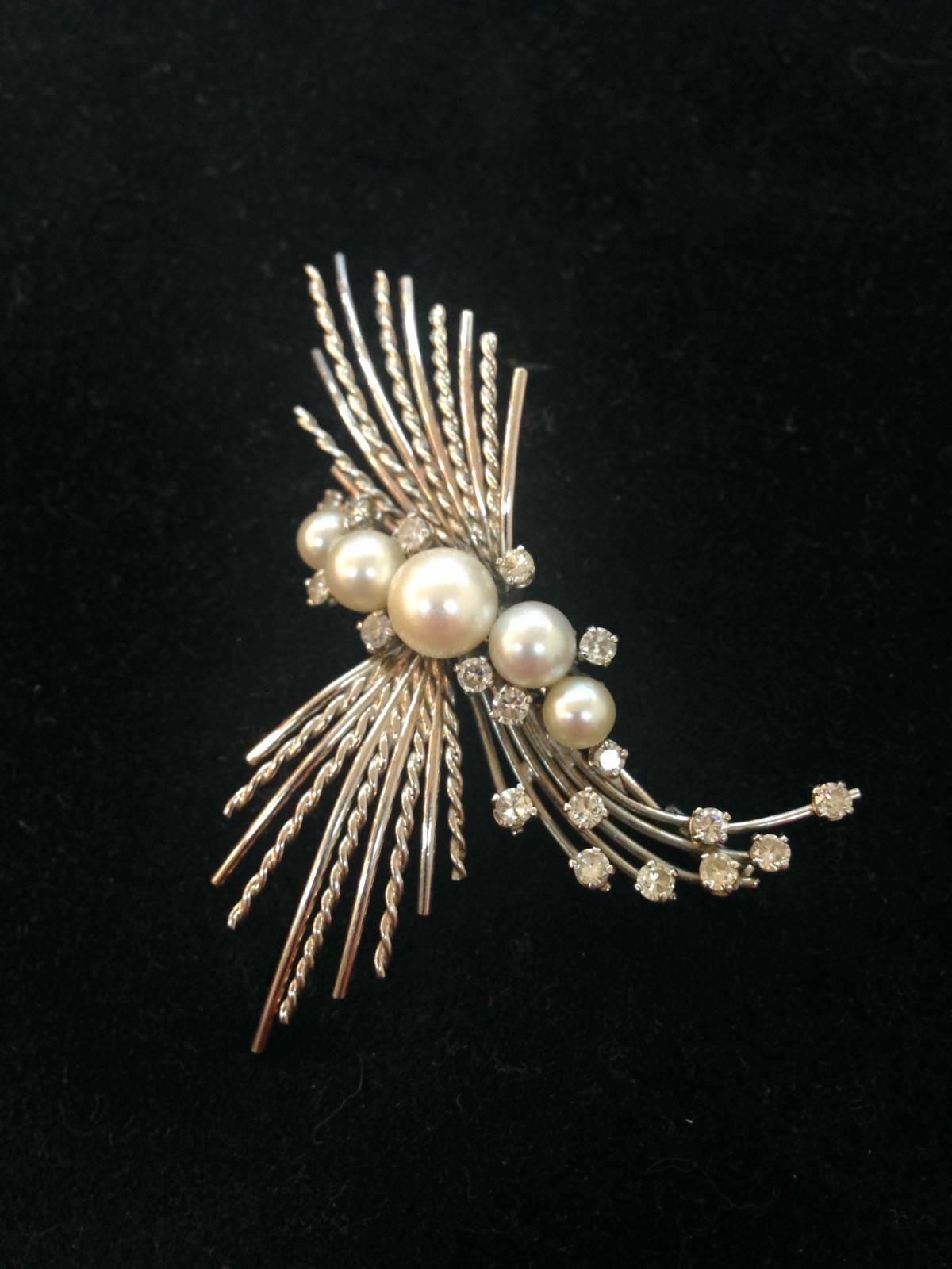 broche libellule or blanc 750 1000 me diamants et perles d p t vente la teste expert en. Black Bedroom Furniture Sets. Home Design Ideas