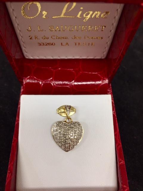 8c448c6c175927 Pendentif coeur or 750 1000ème et diamants occasion Or Ligne La Teste
