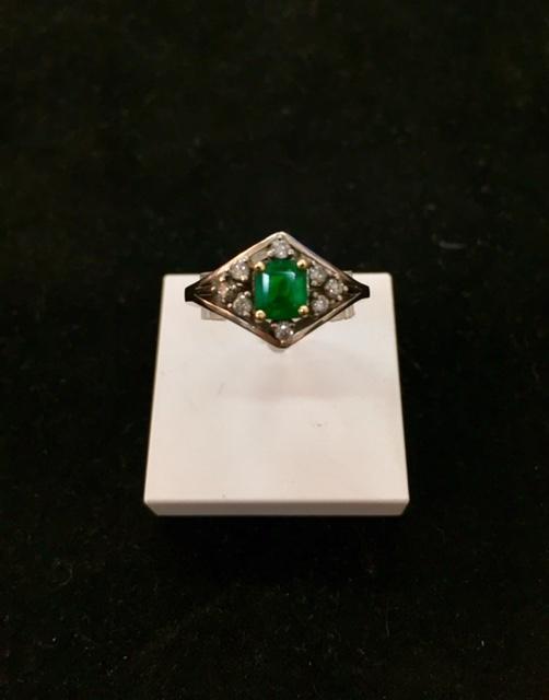 e25cc53b2a50d Bague or gris 750 1000ème émeraude et diamants Dépôt vente La teste. La  Bijouterie Or Ligne ...